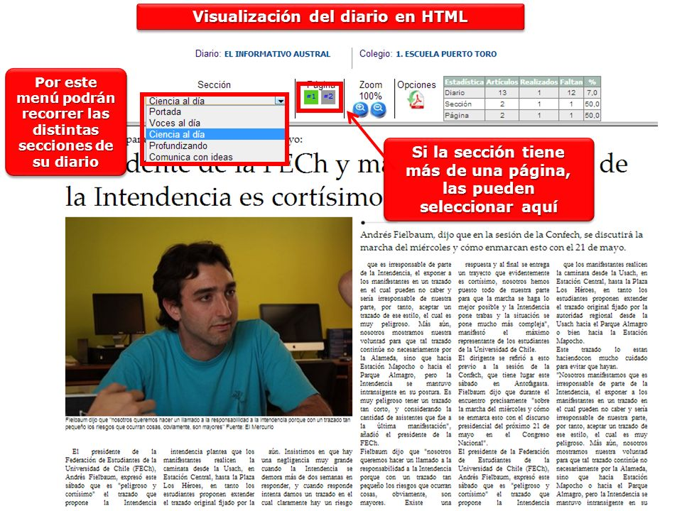 Visualización del diario en HTML