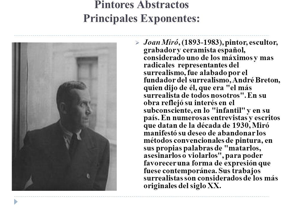 Pintores Abstractos Principales Exponentes: