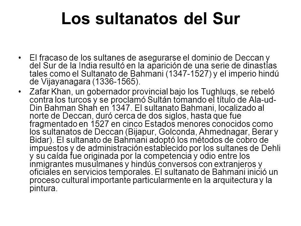 Los sultanatos del Sur