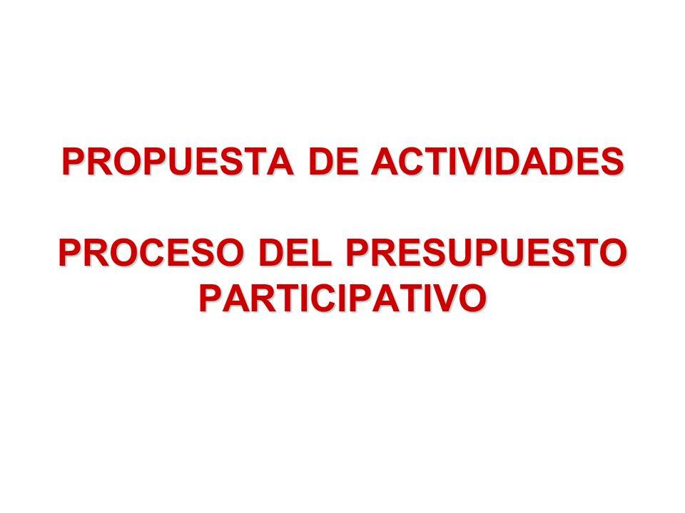 PROPUESTA DE ACTIVIDADES PROCESO DEL PRESUPUESTO PARTICIPATIVO