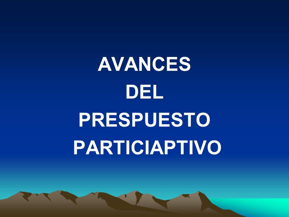 AVANCES DEL PRESPUESTO PARTICIAPTIVO
