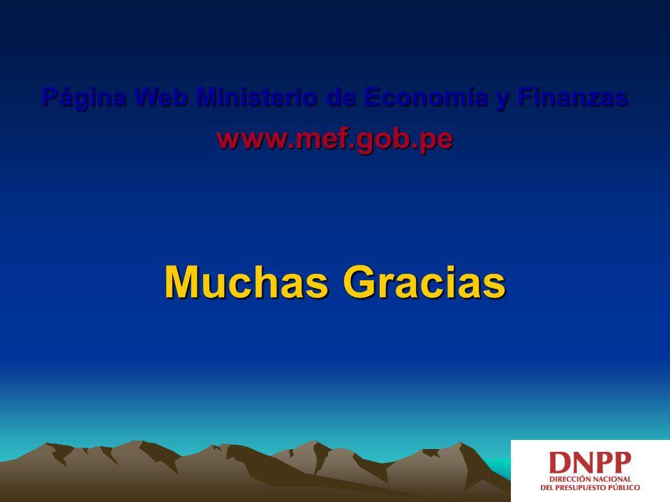 Página Web Ministerio de Economía y Finanzas