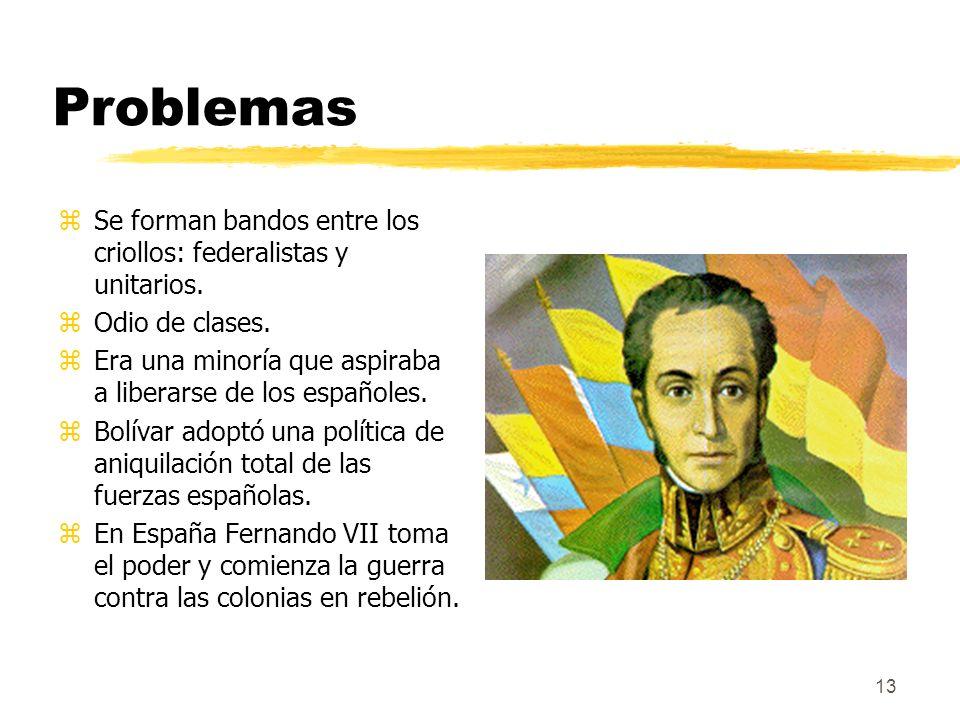 Problemas Se forman bandos entre los criollos: federalistas y unitarios. Odio de clases. Era una minoría que aspiraba a liberarse de los españoles.