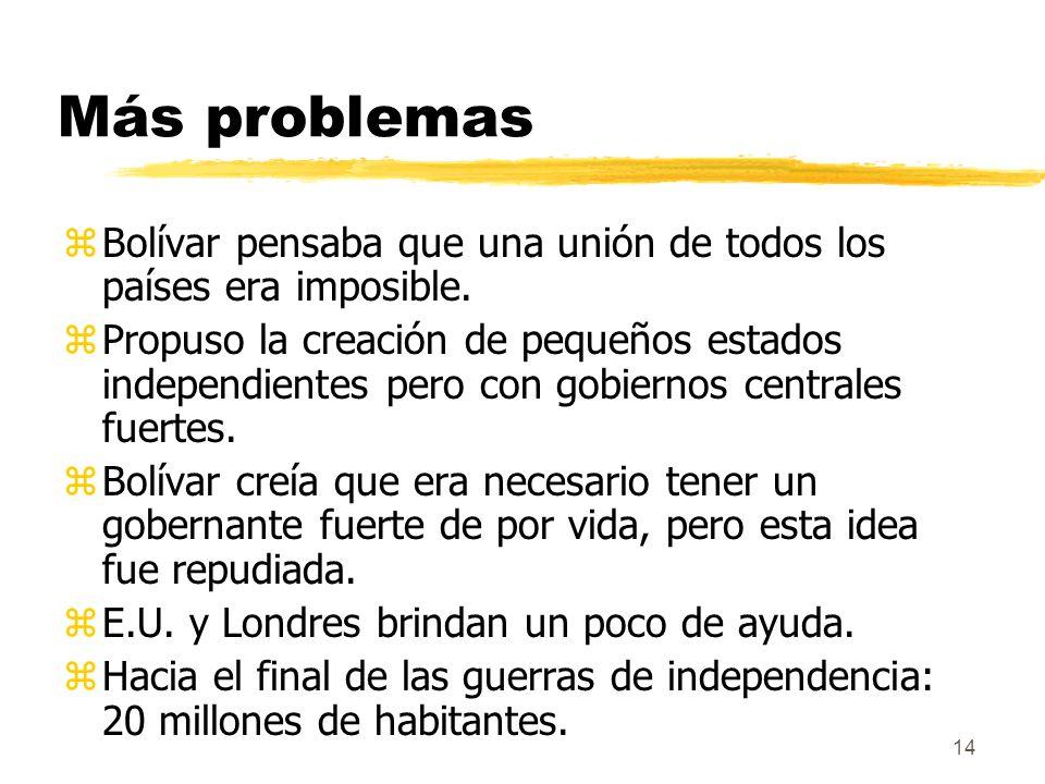 Más problemas Bolívar pensaba que una unión de todos los países era imposible.