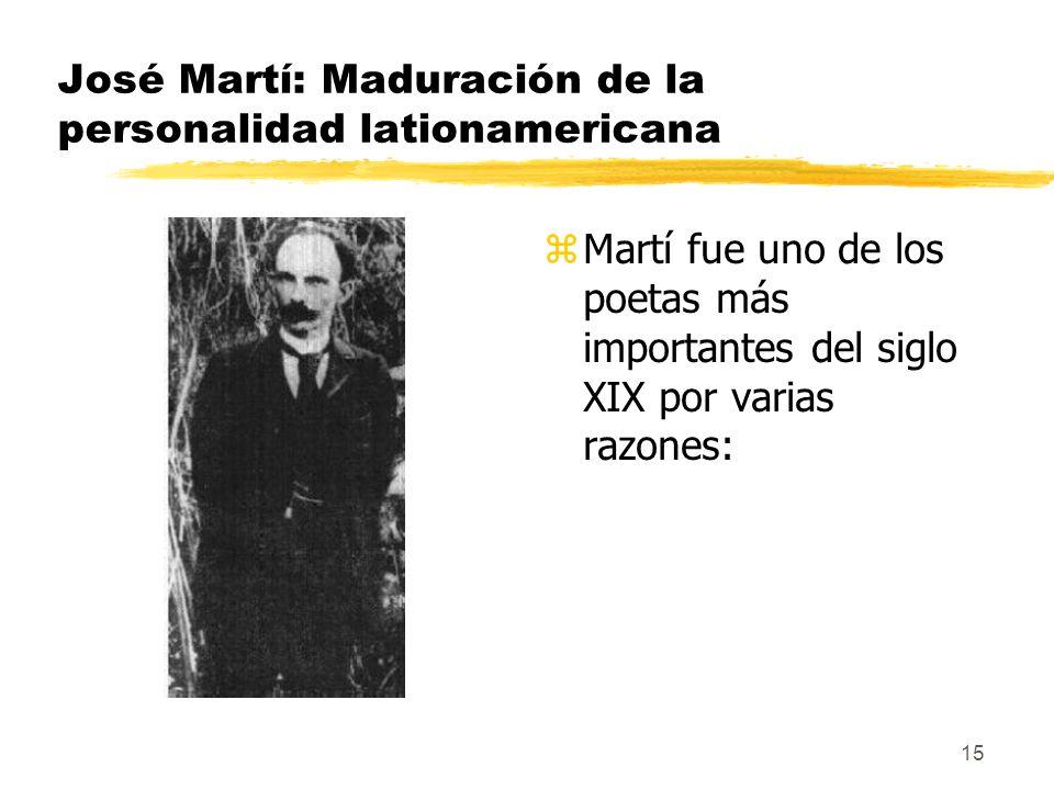 José Martí: Maduración de la personalidad lationamericana