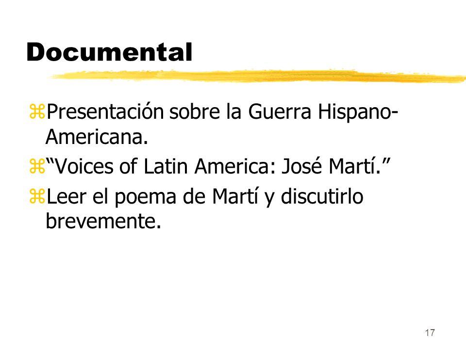 Documental Presentación sobre la Guerra Hispano-Americana.