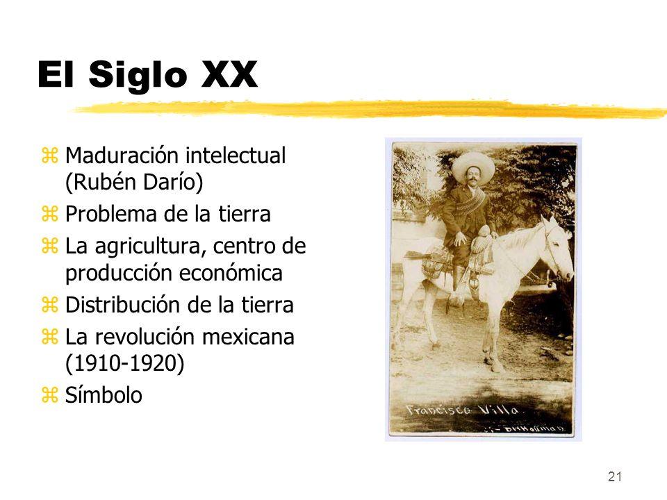 El Siglo XX Maduración intelectual (Rubén Darío) Problema de la tierra