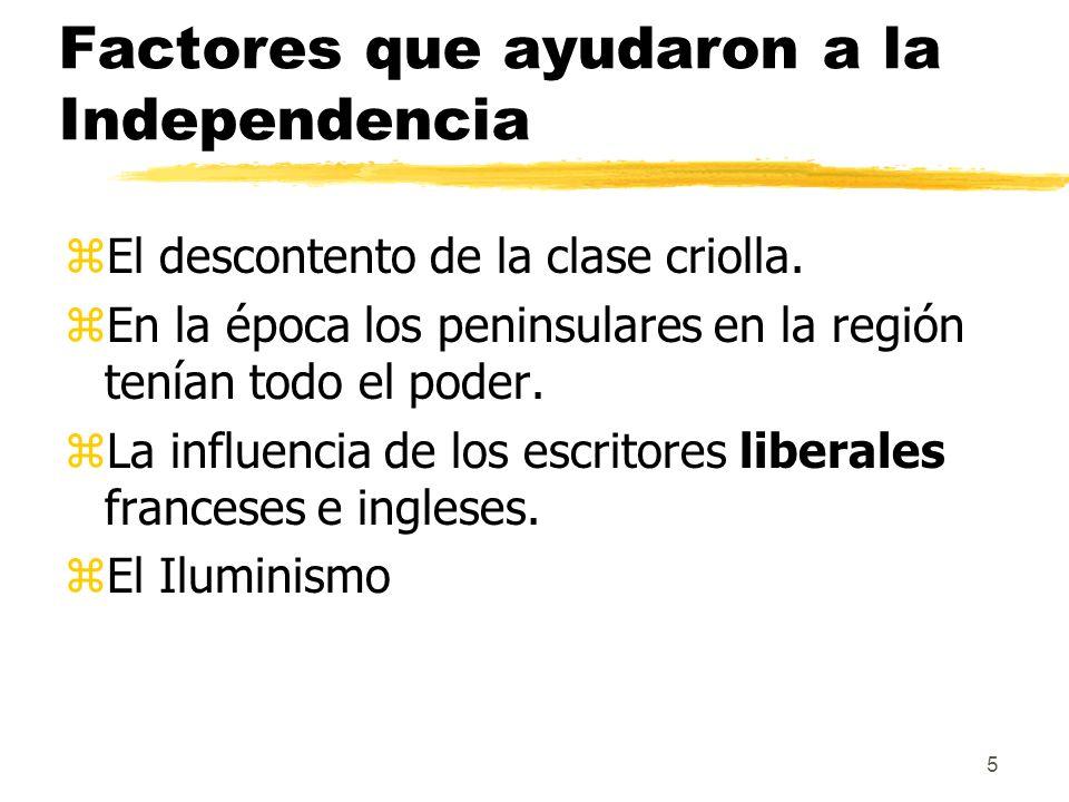 Factores que ayudaron a la Independencia