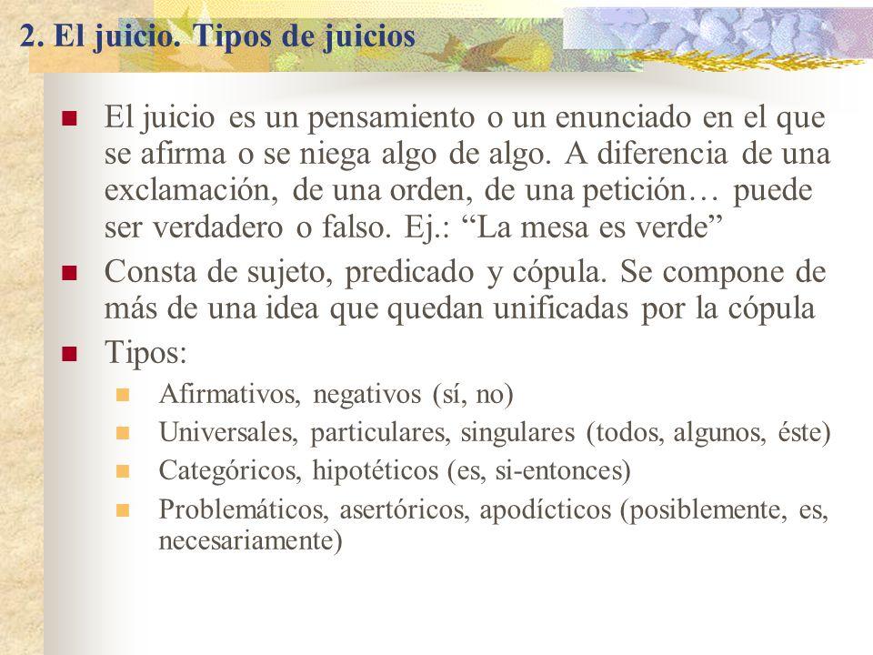 2. El juicio. Tipos de juicios