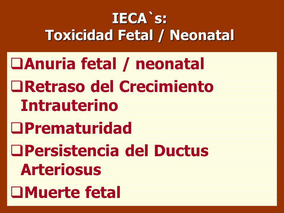 Toxicidad Fetal / Neonatal