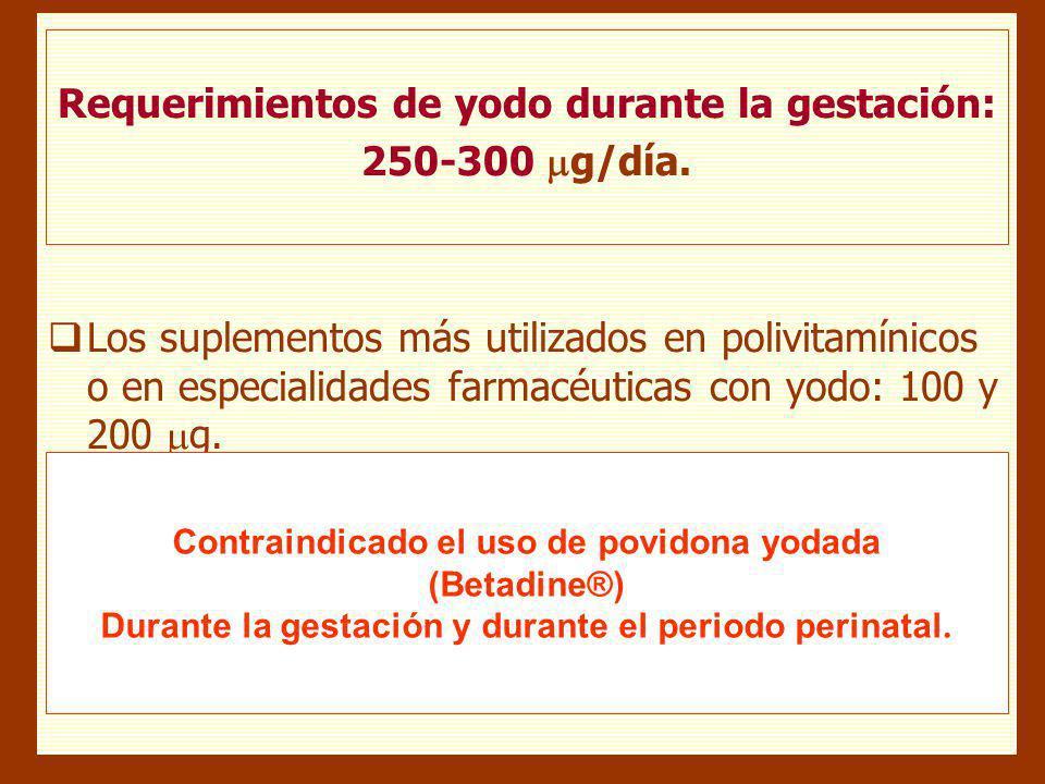 Requerimientos de yodo durante la gestación: 250-300 g/día.