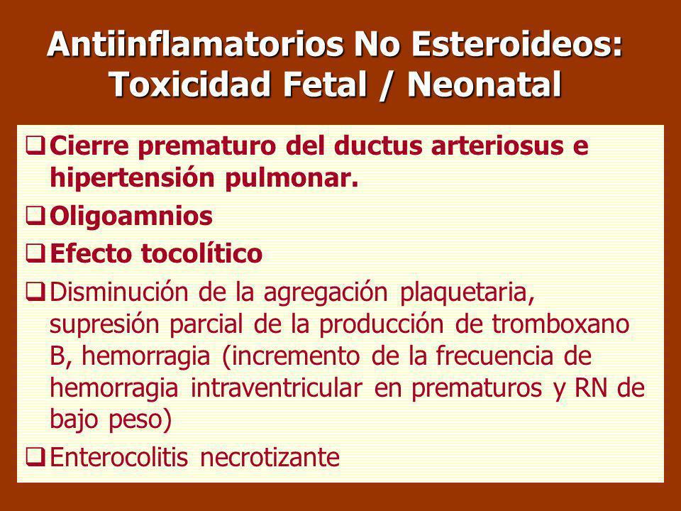 Antiinflamatorios No Esteroideos: Toxicidad Fetal / Neonatal