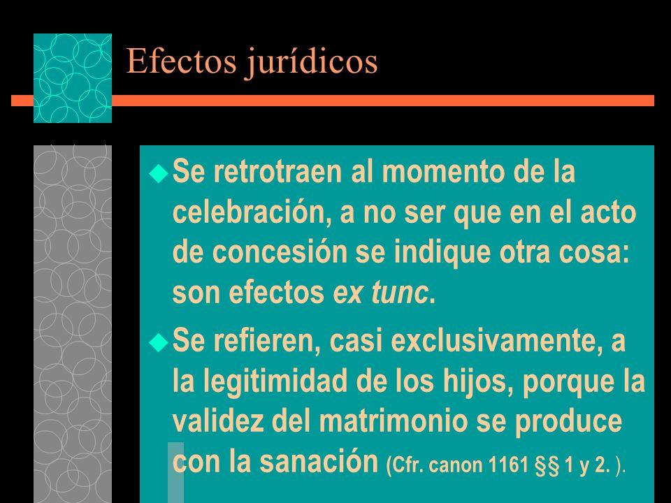 Efectos jurídicos Se retrotraen al momento de la celebración, a no ser que en el acto de concesión se indique otra cosa: son efectos ex tunc.