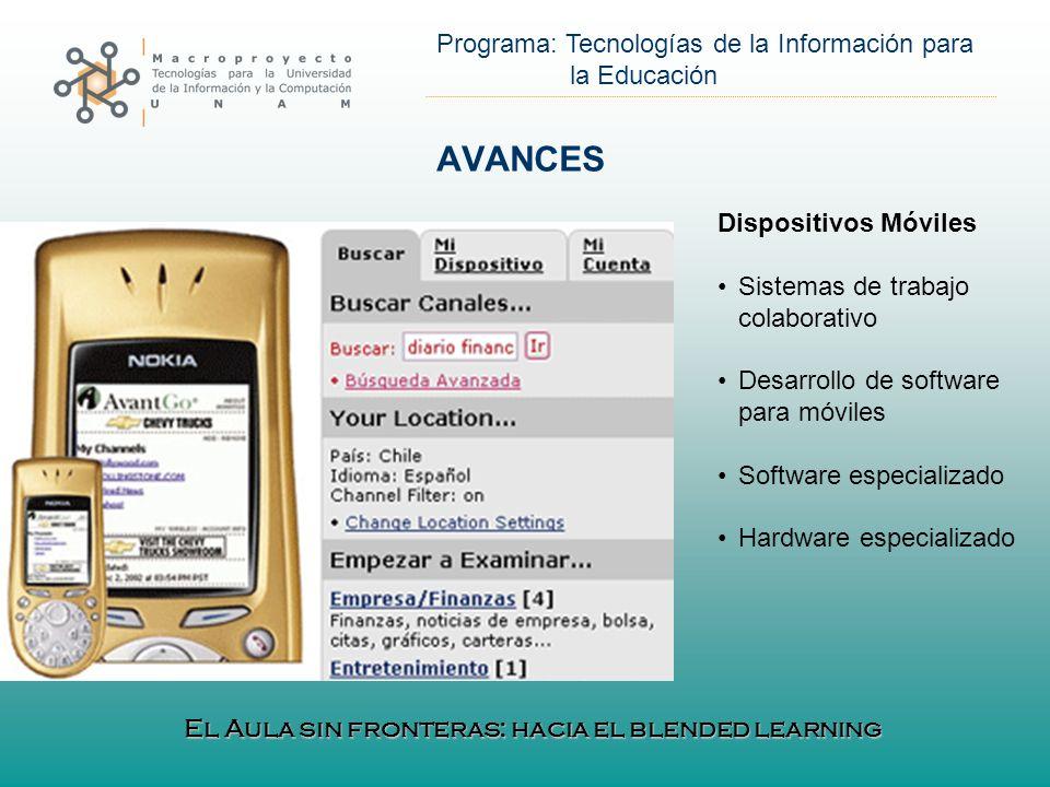 AVANCES Dispositivos Móviles Sistemas de trabajo colaborativo