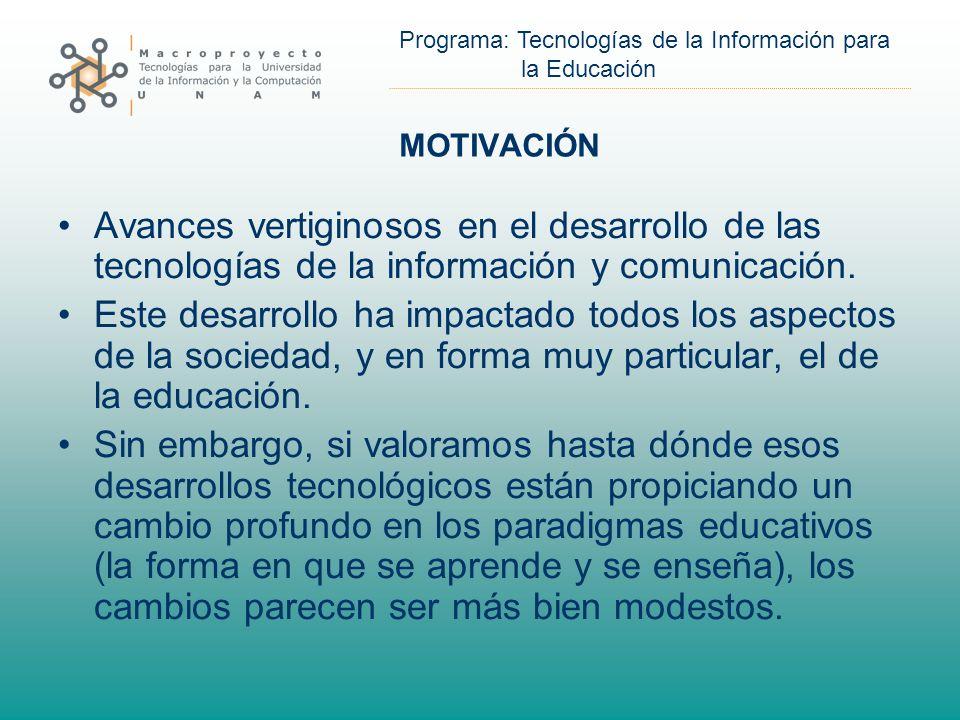 MOTIVACIÓN Avances vertiginosos en el desarrollo de las tecnologías de la información y comunicación.