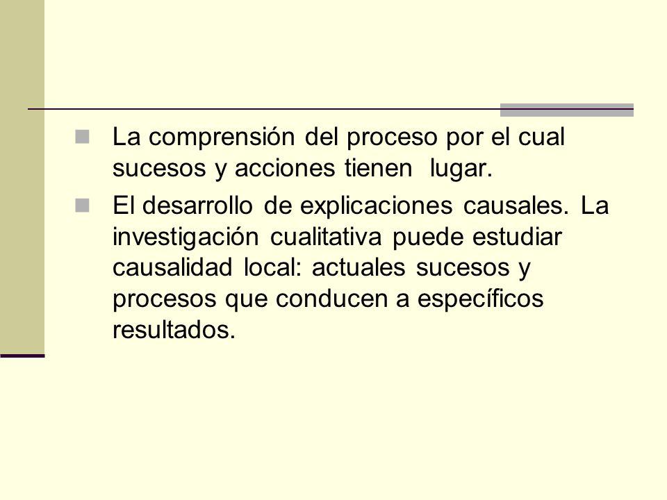 La comprensión del proceso por el cual sucesos y acciones tienen lugar.