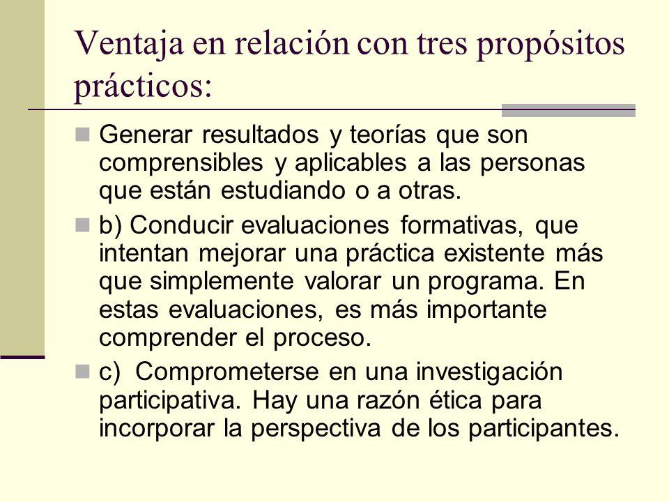Ventaja en relación con tres propósitos prácticos: