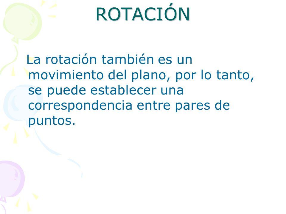 ROTACIÓN La rotación también es un movimiento del plano, por lo tanto, se puede establecer una correspondencia entre pares de puntos.