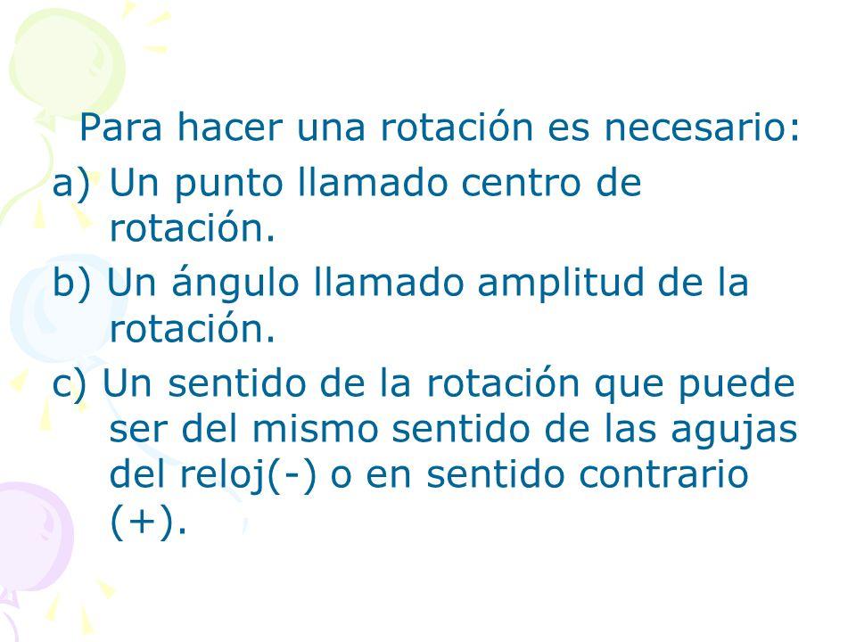 Para hacer una rotación es necesario:
