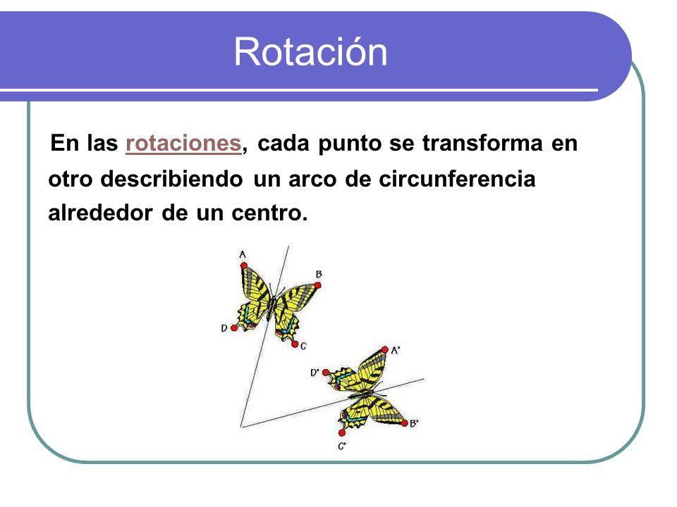 Rotación En las rotaciones, cada punto se transforma en