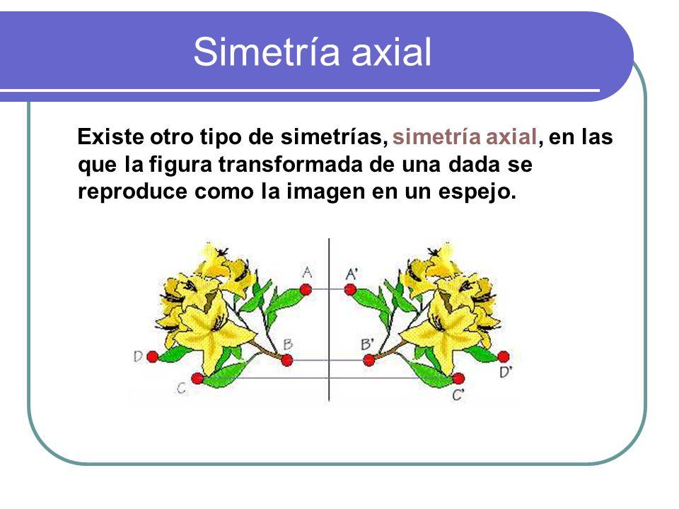 Simetría axial Existe otro tipo de simetrías, simetría axial, en las que la figura transformada de una dada se reproduce como la imagen en un espejo.
