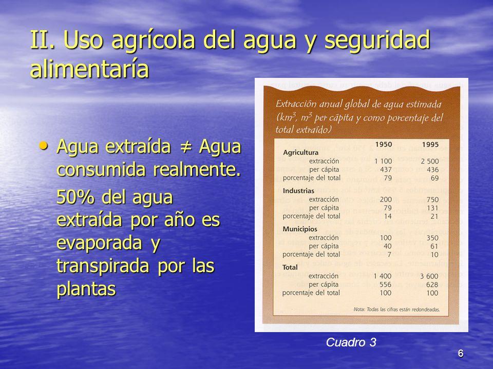 II. Uso agrícola del agua y seguridad alimentaría