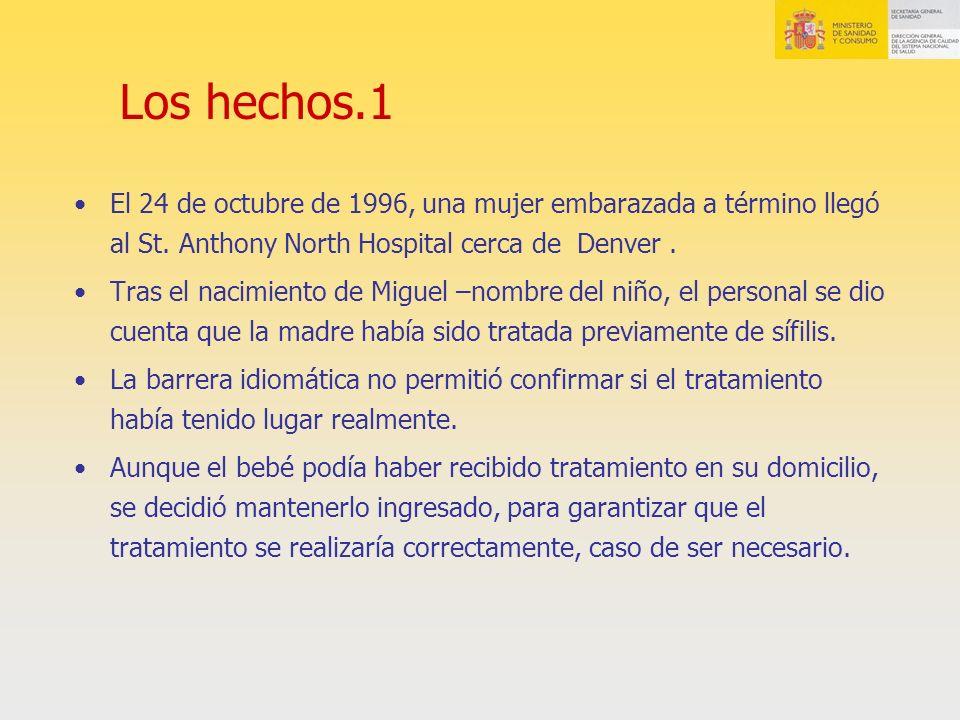 Los hechos.1 El 24 de octubre de 1996, una mujer embarazada a término llegó al St. Anthony North Hospital cerca de Denver .