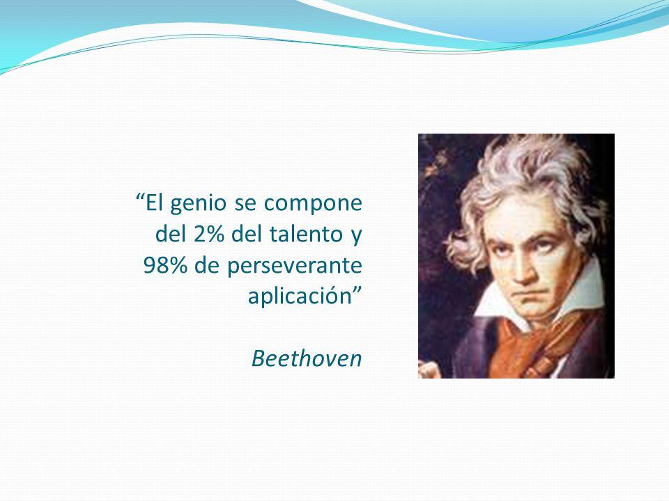 El genio se compone del 2% del talento y 98% de perseverante aplicación Beethoven