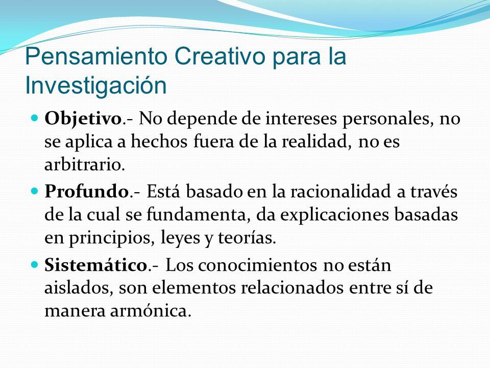 Pensamiento Creativo para la Investigación
