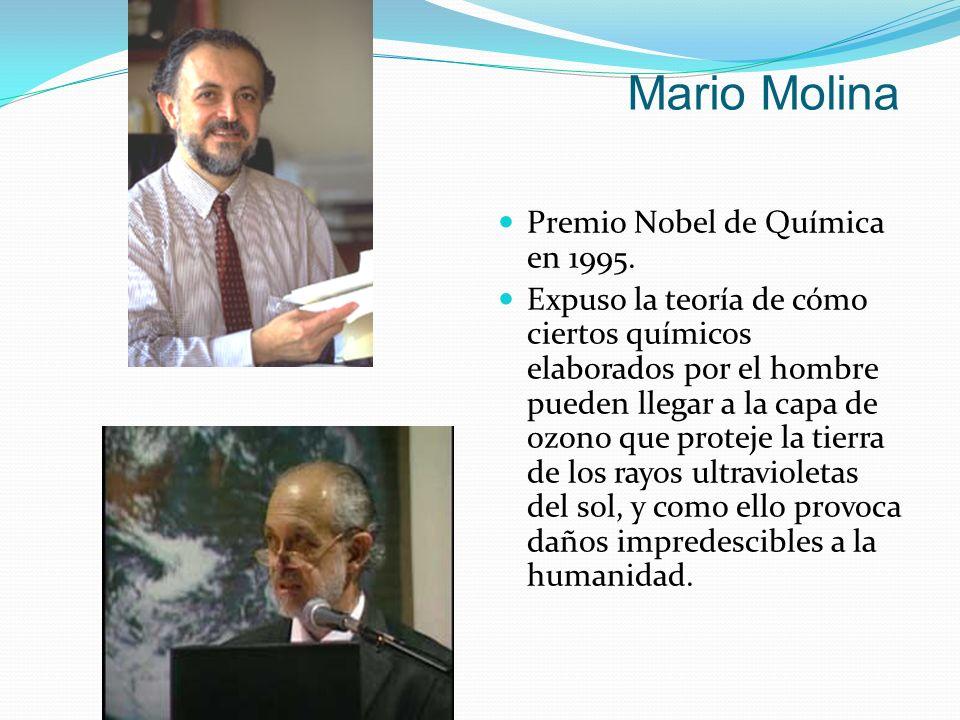 Mario Molina Premio Nobel de Química en 1995.