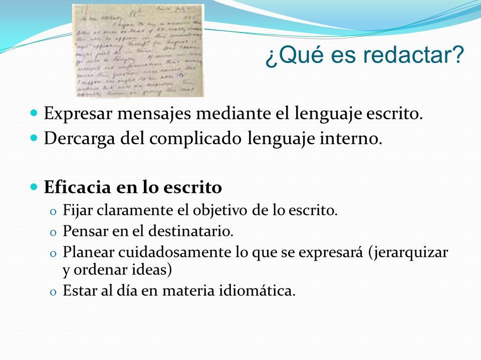 ¿Qué es redactar Expresar mensajes mediante el lenguaje escrito.
