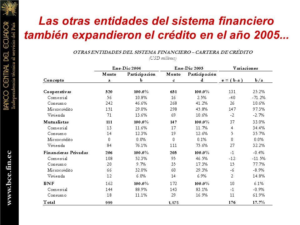 OTRAS ENTIDADES DEL SISTEMA FINANCIERO – CARTERA DE CRÉDITO