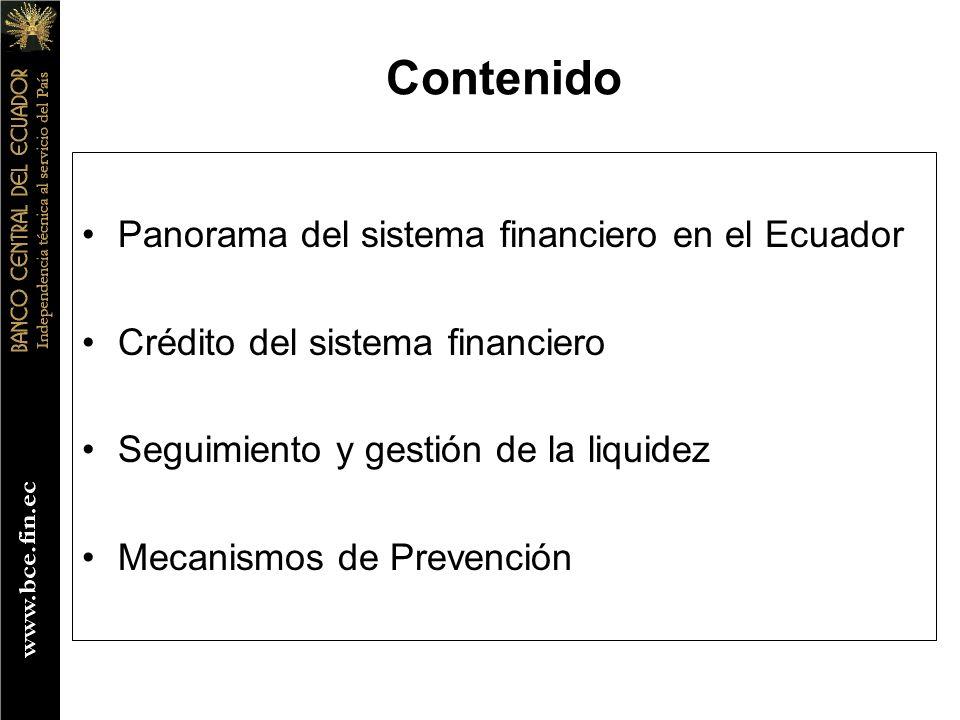 Contenido Panorama del sistema financiero en el Ecuador