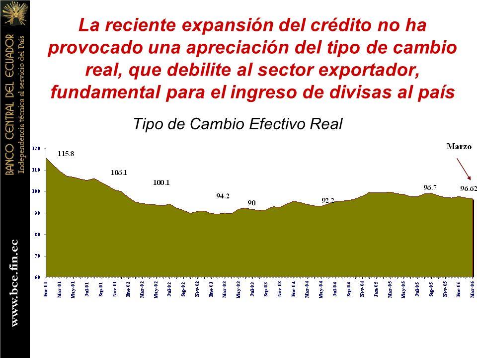 La reciente expansión del crédito no ha provocado una apreciación del tipo de cambio real, que debilite al sector exportador, fundamental para el ingreso de divisas al país