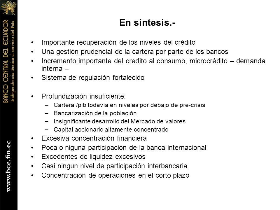 En síntesis.- Importante recuperación de los niveles del crédito