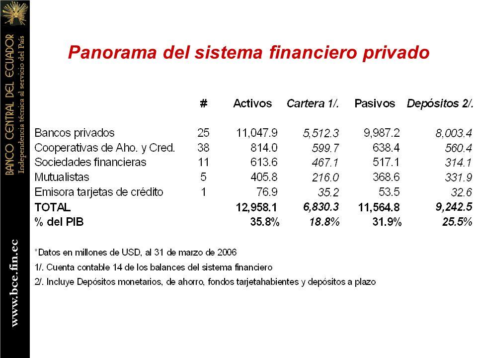 Panorama del sistema financiero privado