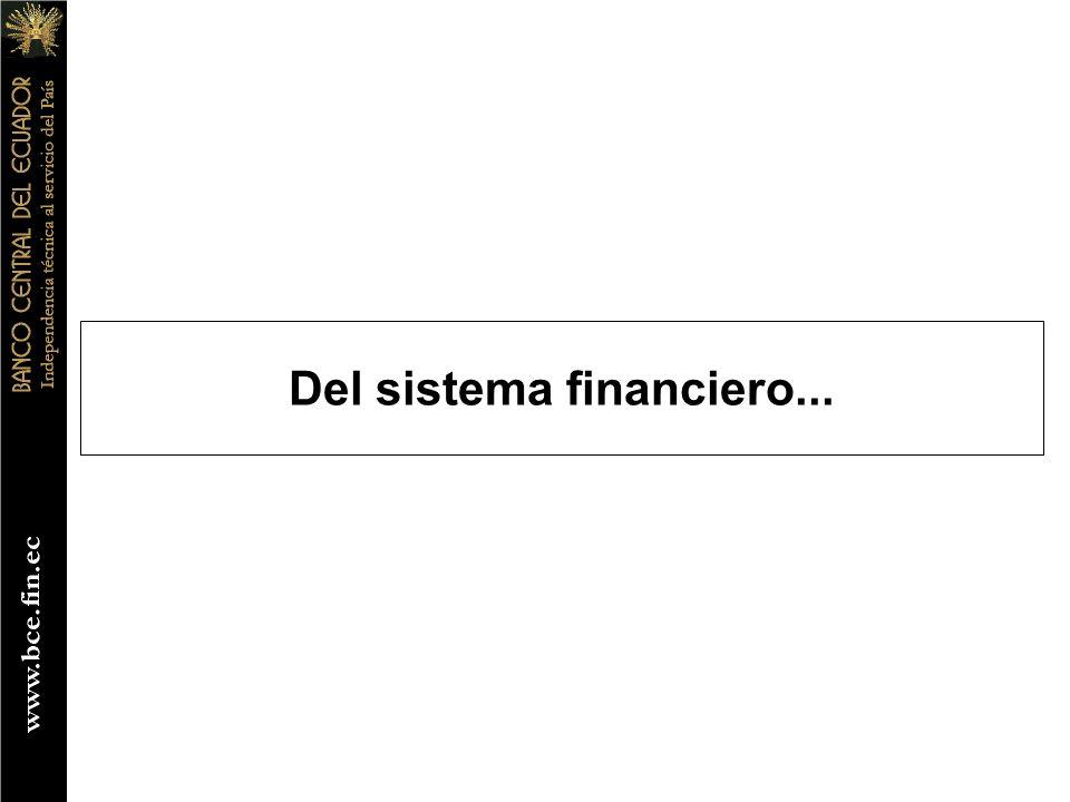 Del sistema financiero...