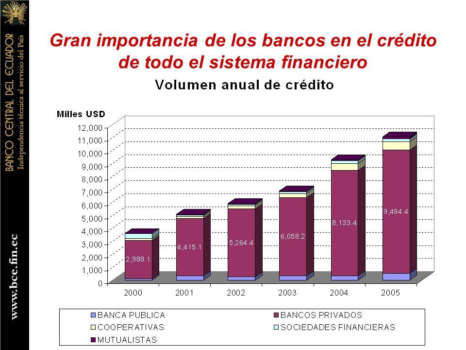 Gran importancia de los bancos en el crédito de todo el sistema financiero