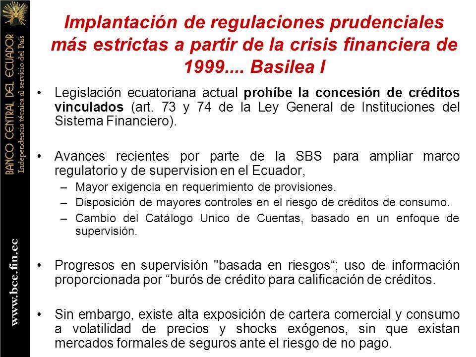 Implantación de regulaciones prudenciales más estrictas a partir de la crisis financiera de 1999.... Basilea I