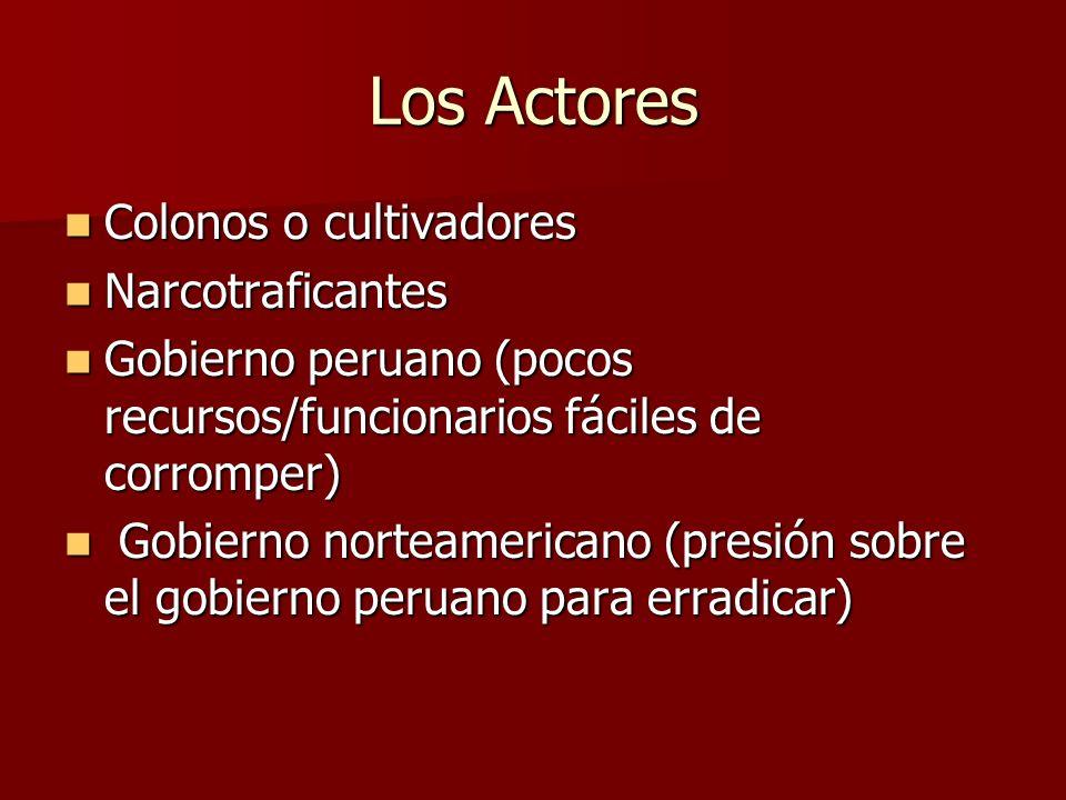 Los Actores Colonos o cultivadores Narcotraficantes