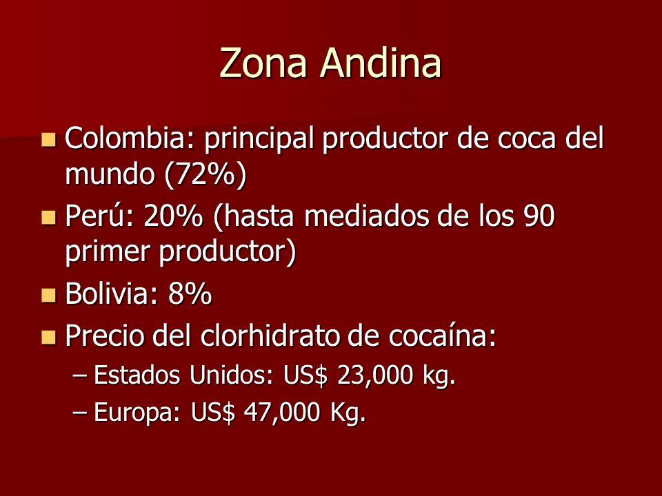 Zona Andina Colombia: principal productor de coca del mundo (72%)