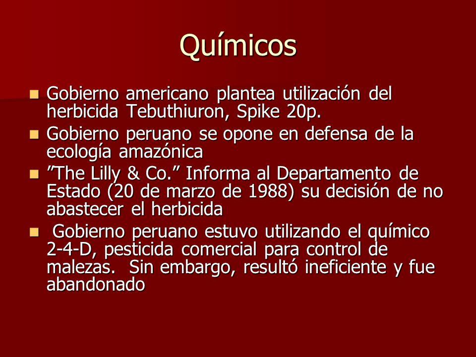 Químicos Gobierno americano plantea utilización del herbicida Tebuthiuron, Spike 20p. Gobierno peruano se opone en defensa de la ecología amazónica.