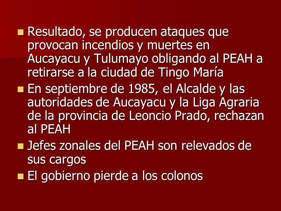 Resultado, se producen ataques que provocan incendios y muertes en Aucayacu y Tulumayo obligando al PEAH a retirarse a la ciudad de Tingo María
