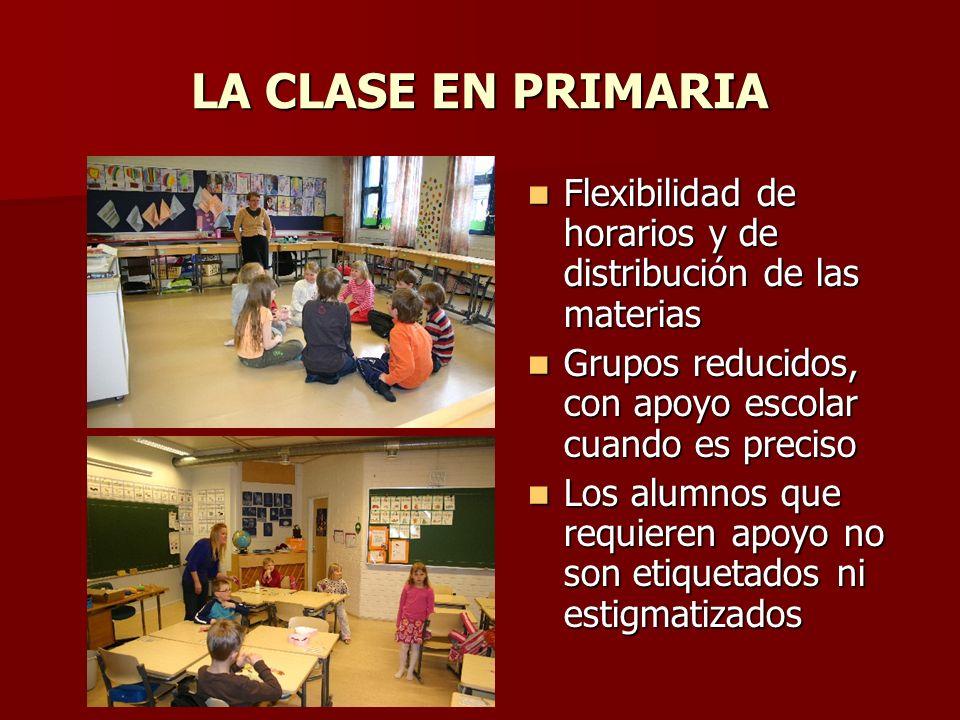 LA CLASE EN PRIMARIA Flexibilidad de horarios y de distribución de las materias. Grupos reducidos, con apoyo escolar cuando es preciso.
