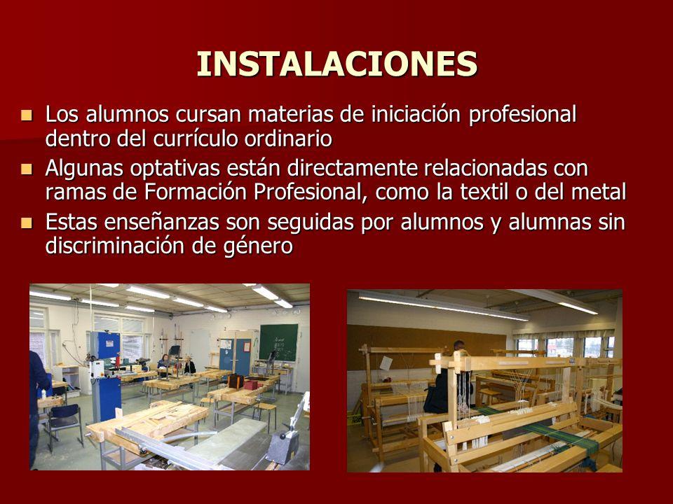 INSTALACIONES Los alumnos cursan materias de iniciación profesional dentro del currículo ordinario.