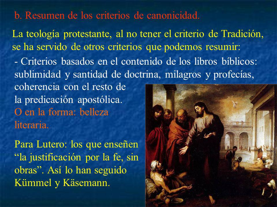 b. Resumen de los criterios de canonicidad.