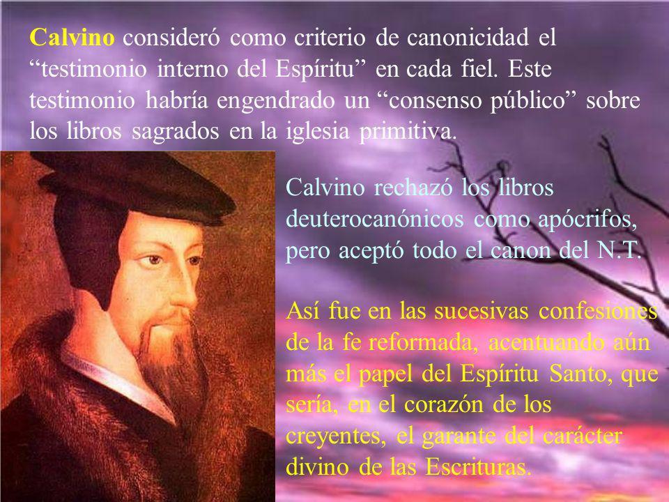 Calvino consideró como criterio de canonicidad el testimonio interno del Espíritu en cada fiel. Este testimonio habría engendrado un consenso público sobre los libros sagrados en la iglesia primitiva.