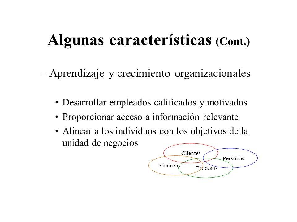 Algunas características (Cont.)
