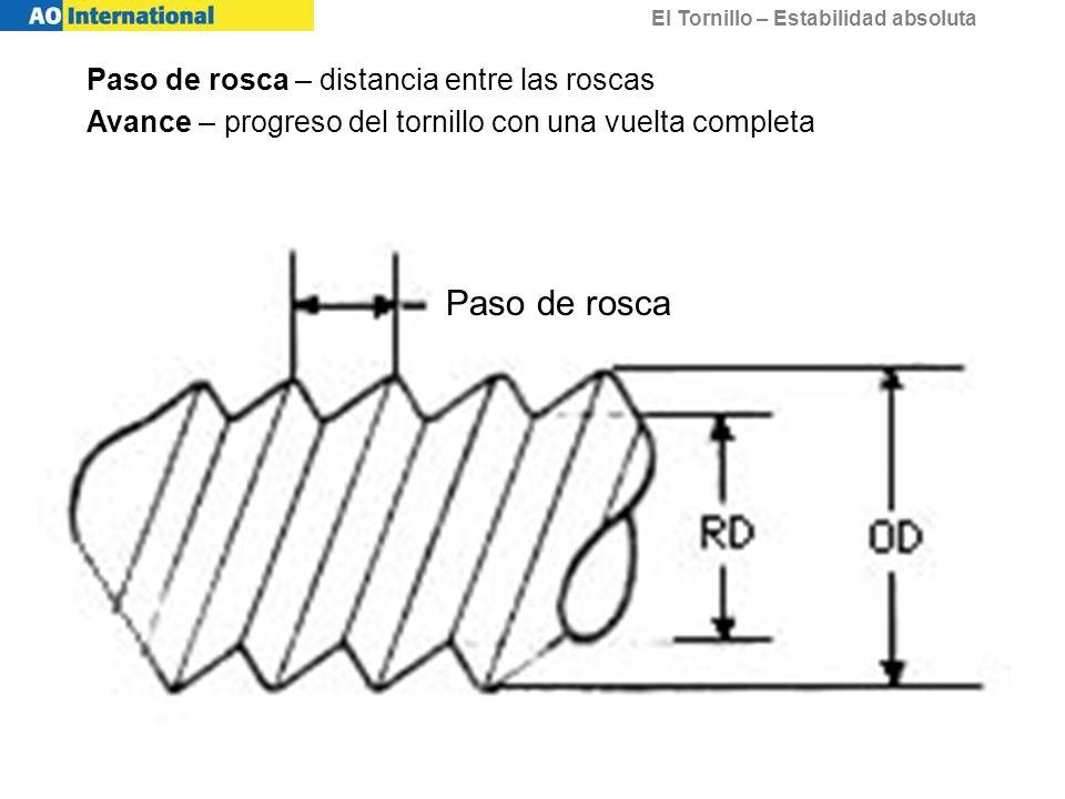 Paso de rosca Paso de rosca – distancia entre las roscas