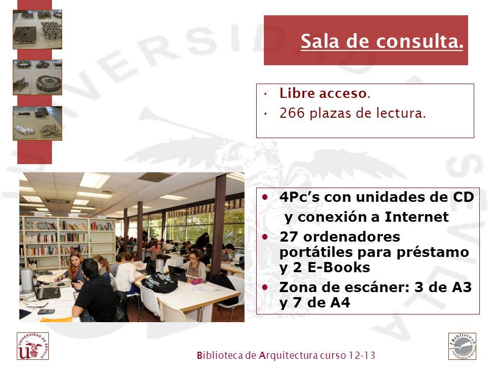 Sala de consulta. Libre acceso. 266 plazas de lectura.